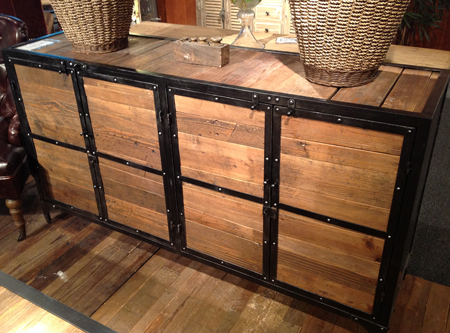 Industrial buffet cabinet made of reclaimed wood
