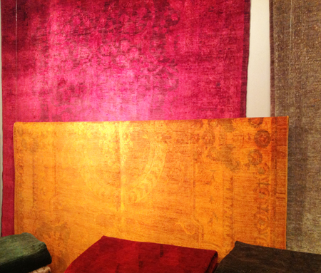 Recycled over-dyed natural fiber area rugs