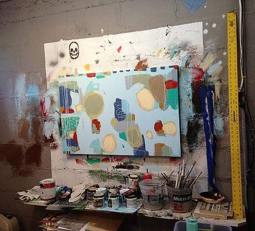 Studio wall of Joel Ganucheau's space