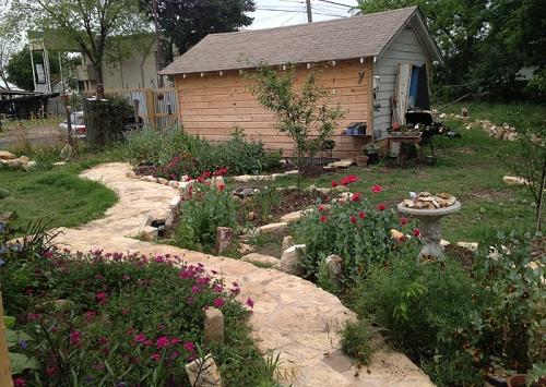 Yard work constantly in progress at Artist Stephanie Bradley's home