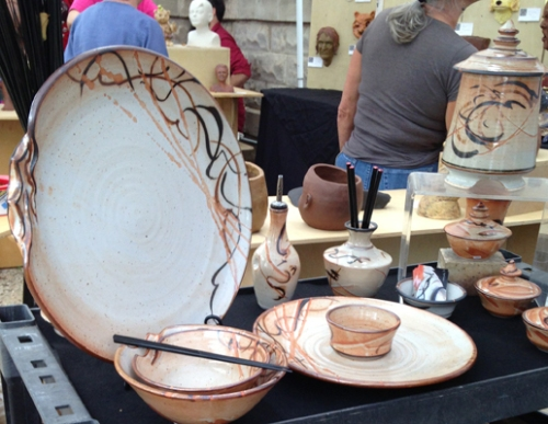 Creative dinnerware was an easy find. Kym Owens, Vietnam orphan, adopted as a baby, grew up in Lubbuck, TX. Also a classically trained dancer, she can be found at teaching at Sunset Canyon Pottery in Austin.