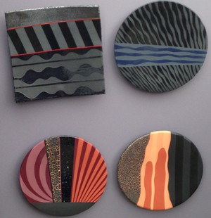 "Abstract art plates by Ron Boling, self-proclaimed ""rakooster"" from New Braunfels, TX"