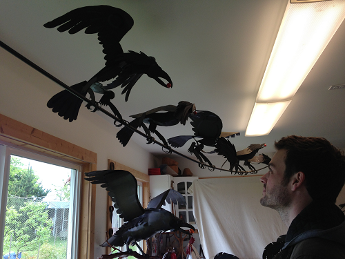 Detailed ravens meticulously cut in steel by Gunter Reimnitz
