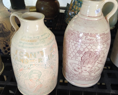 Nice Jugs Ceramics showing detailed inscribed pottery jugs.