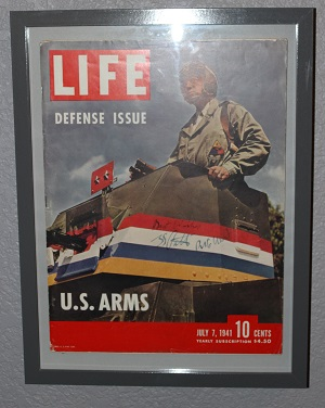 Framed Life Magazine from 1941 signed by General Patton himself!