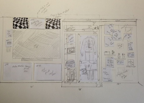 The sketch out of a portion of the race area where Vasser racing suit would be hung
