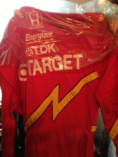 The back of the actual Jimmy Vasser racing suit