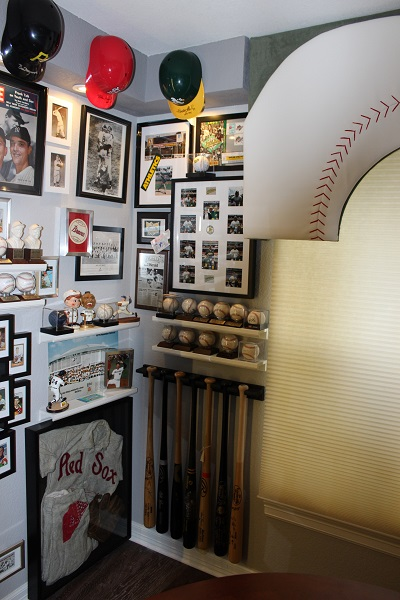 With Mantle and Maris on the Life covers and an heirloom baseball uniform, this area became a mini Cooperstown